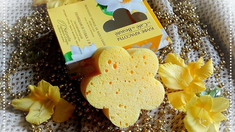 Gąbka do mycia 2w1 nasączona mydłem rosyjskiej marki Le Cafe de Beaute - Amazonik